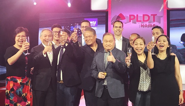 PLDT chair Manny V. Pangilinan with executives of content partners for TVolution