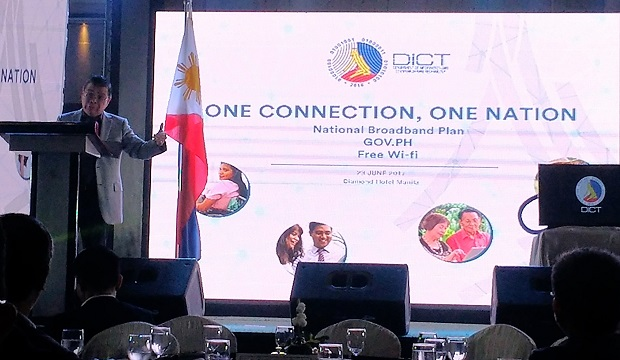 DICT secretary Rodolfo A. Salalima leads the launch of his department's flagship projects