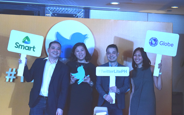 Photo shows Harvey Libarnes, VP of digital products and partnership at Smart Communication; Tina Pang, head of sales at Twitter Southeast Asia; Dwi Adriansah, head of business development for Southeast Asia and Australia at Twitter; and Popo Yambao, Globe Telecom prepaid brand director
