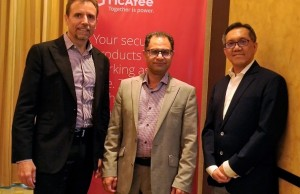 Photo shows (from left) McAfee Asia Pacific SVP and president Gavin Struthers, McAfee Asia Pacific head of pre-sales Daryush Ashjari, and Wordtext Systems Inc. president Juan G. Chua