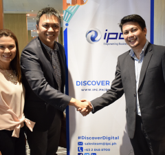 Photo shows (L-R) Sheila Oseña, VP for finance Web.com.ph, John Henry Oseña, president of Web.com.ph and Niño Valmonte, director for marketing and digital innovation of IPC