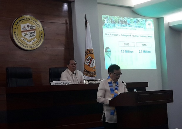Aklan governor Florencio Miraflores delivers his state of the province address on July 27