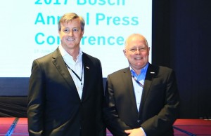 Outgoing managing director of Bosch in the Philippines Andrew Powell (right) welcomes incoming managing director Richard Walker