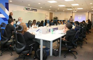 Teleperformance Philippines employees using facilities of the newly-launched Leadership Development Center.