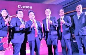 Canon Marketing (Philippines), Inc. (CMPI) marks its 80th  anniversary in August 22 by starting off with a toast. Leading the celebration is Kazuhiro Ozawa (3rd, left), new CMPI president and CEO). (EKU)