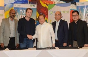 Photo shows (from left): Syam Devineni PawnHero CFO; David Margendorff, PawnHero chairman and founder; Manuel V. Pangilinan, PLDT, Smart, Voyager, and FinTQ chairman; Orlando B. Vea, Voyager president and CEO; and Lito Villanueva, FinTQ managing director