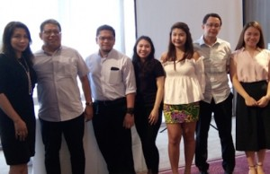 MoneyMatch Board advisor and Opal Portfolio Investments Inc. president Ida Tiongson, MoneyMatch managing director Jay S. Bautista, and Fintech Resources Global Inc. consultant Paul Daza (2nd from right), with other representatives of Fintech and MoneyMatch during the launching at One Shangri-la Place in Pasig City