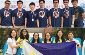 The Pinoy medalists and their coaches at the 2017 China Western Mathematical Invitation (top) and 16th China Girls Mathematical Olympiad (bottom). Credit: MTG