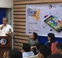 DICT undersecretary Monchito Ibrahim speaking during the launch of the 4th PH Startup Challenge