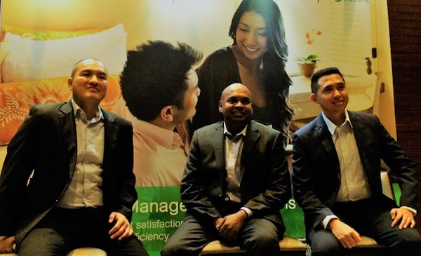 (From L-R) Schneider Electric execs Michael Sapitan, Amalan Kanagaratnam, and Lorenz Payonga during the launch of the company's guest room management solutions