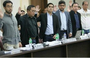 Executives from the ride-hailing firms take their oath during the House hearing last week. Photo credit: HOR