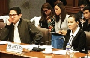 Sen. Grace Poe (right) and Sen. Bam Aquino during the recent Senate hearing on ride-hailing firms