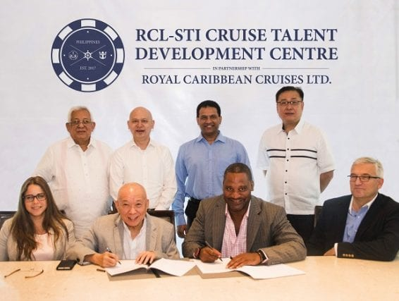 Photo shows (from left, standing) STI-ESG vice chairman and CEO Monico V. Jacob, RCL APAC HR operations director Mun Fei Lawrence Chee, RCM India general manager John D'Souza, STI-ESG president and COO Peter K. Fernandez. (From left, sitting) RCL Global HR operations director Tanay Alonso, STI-ESG executive committee chairman Eusebio H. Tanco, RCL senior vice president and chief HR officer Paul T. Parker, and RCL associate vice president and RCL-ROHQ general manager Artur Pankowski