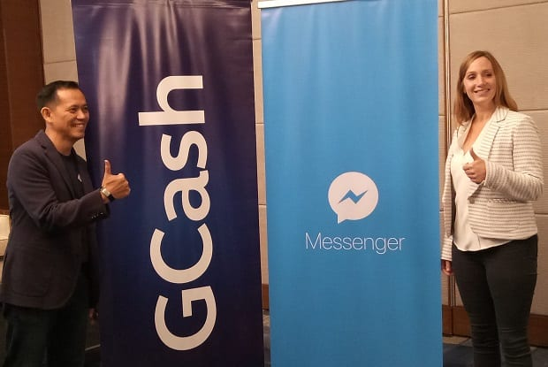 GCash president and CEO Albert Tinio and Facebook product lead for mobile financial services Ginger Baker doing a thumbs-up on the GCash and Messenger  partnership