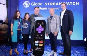 Photo shows (from left) Globe head of content portfolio Jill Go, Globe at Home marketing head Barbie Dapul, Globe SVP for international business Nikko Acosta, Globe Telecom president and CEO Ernest Cu, and Roku Asia Pacific advisor Brandon Amber