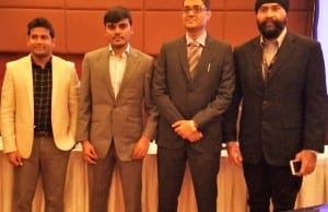 Shown are CoinLancer executives during the launch in Makati City. From left are CEO/founder Shahin Pilli; advisor Sai Teja; Rushabh Shah, CEO; and advisor Amarjit Singh