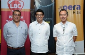 Photo shows (L-R) Mike Camahort, president and COO of LBC Express and chairman and CEO of LBC Express Holdings; Jeffrey Navarro, country director of Western Union Philippines; and Lorenzo Ocampo, president and CEO of PetNet during the launch of Western Union and PetNet payout services in the Philippines via LBC branches held at the New World Hotel Makati