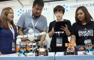 Photo shows (from left) Banbros marketing manager Kristine Mapula, Banbros president Michael Bangayan, UBTech Robotics marketing specialist Anne Zhu, and Banbros product manager Jessel Fesarit