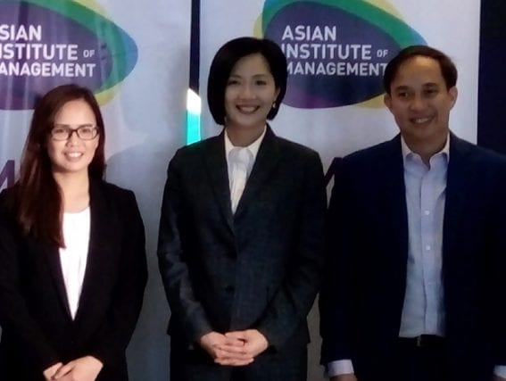 At the launching of the Master of Science in Data Science at the AIM in Makati City were (from left) Dr. Erika Fille T. Legara, associate professor and academic program director for MSDS; Dr. Jikyeong Kang, AIM president and dean; and Dr. Christopher P. Monterola, professor and head of SITE