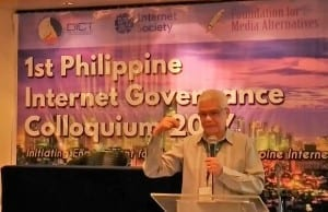 DICT undersecretary and OIC Eliseo M. Rio Jr. discusses the state of Internet in the Philippines during the first Internet Governance dialogue in Quezon City