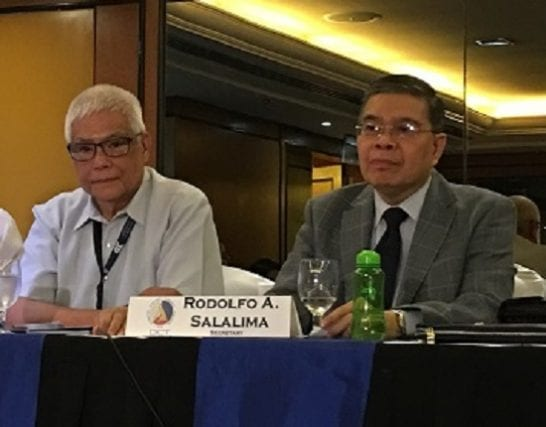 DICT officer-in-charge Eliseo Rio (left) with former DICT secretary Rodolfo Salalima