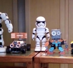 The Alpha1 Pro robot with the Star Wars First Order Stormtrooper (middle) and the STEM-friendly Jimu robots