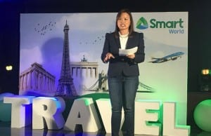 Kat Luna-Abelarde, PLDT Global Corp. president and CEO, speaking during the launch of RoamFree at the Marco Polo Hotel in Ortigas, Pasig City